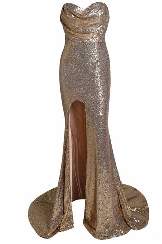 Jeanna Gold Sequin High Slit Gown