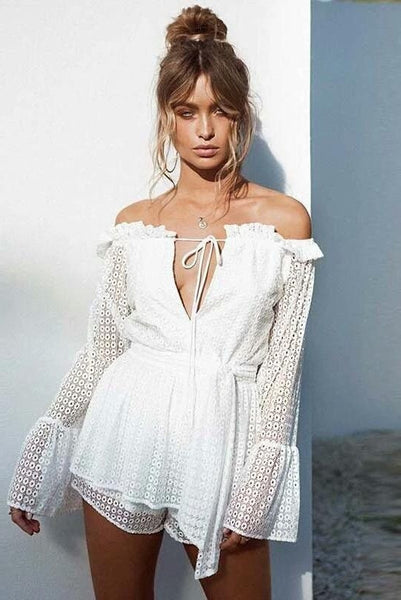 Cass White Off The Shoulder Bell Sleeve Playsuit