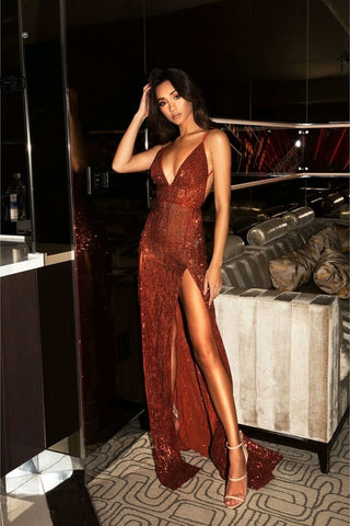 Mila Rust Shimmer Double Slit Gown