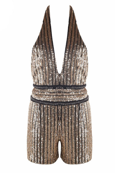 Rochelle Gold Sequin Playsuit
