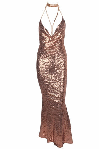 Theresa Rose Gold Cowl Neck Sequin Maxi Dress