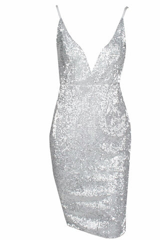 Riva Siver Sequin Plunge Dress