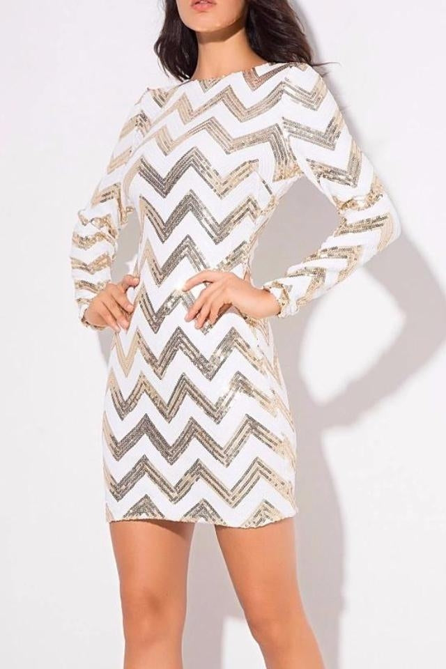 Mula Gold Sequin White Long Sleeve Bodycon Dress