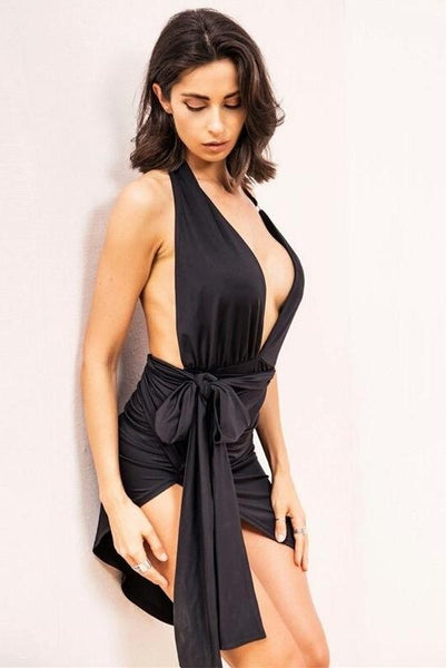 Serena Black Deep Plunge Dress