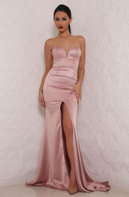 Charlie Plunge Pink Split Maxi Gown