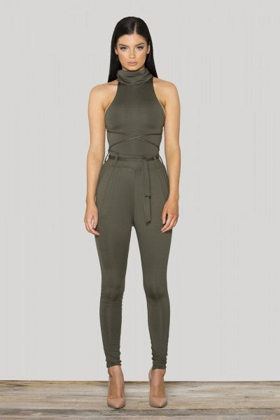 Monica Khaki High Neck Multi - Way Jumpsuit