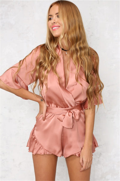 Ocean Rose Satin Look Plunge Playsuit