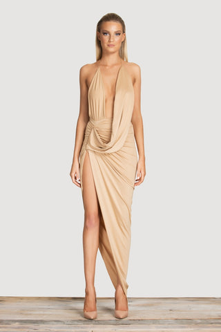 Tessa Beige Deep Plunge High Slit Dress
