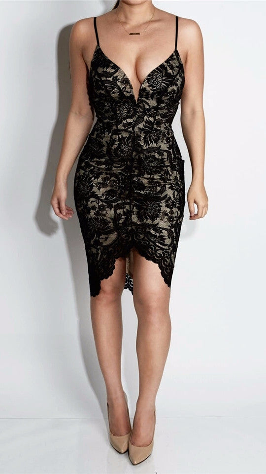 Joleen Black Lace Plunge Midi Dress