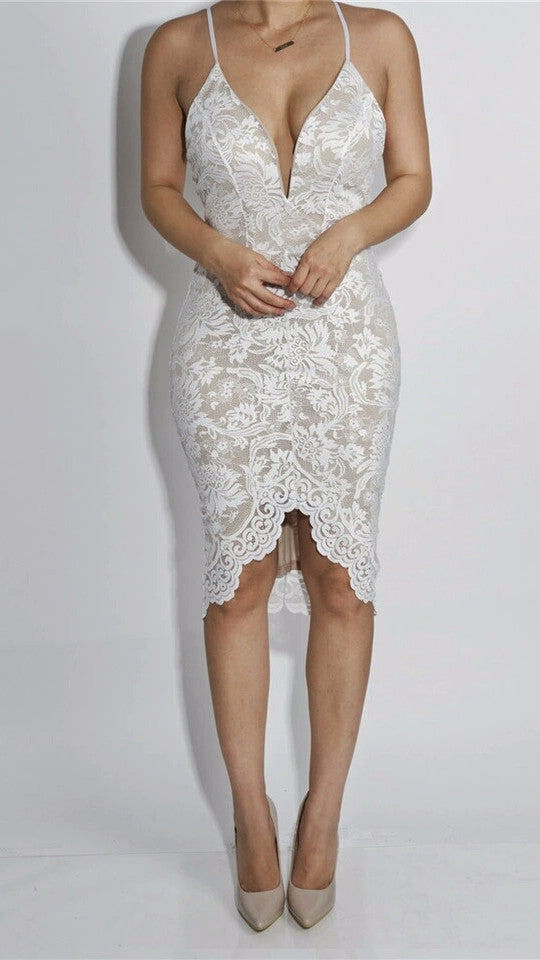 Joleen White Lace Plunge Midi Dress