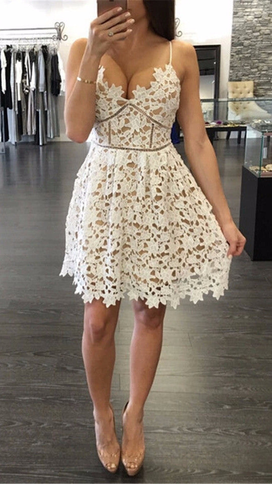 Angel Cream Floral Lace Sweetheart Dress