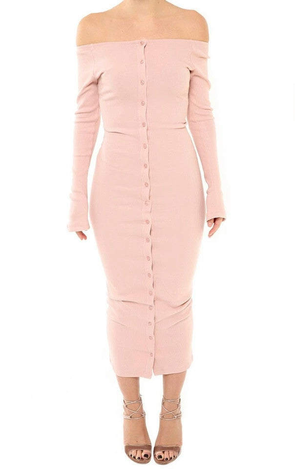 Mary Pink Off The Shoulder Bottoned Down Dress