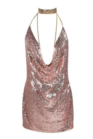 Birthday Suit Pink Sequin Cowl Neck Plunge Dress