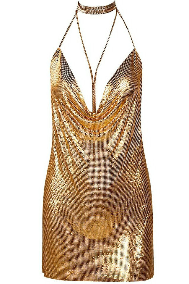 Birthday Suit Gold Metalic Cowl Neck Plunge Dress