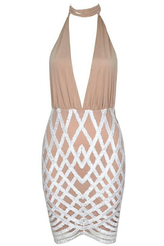 Angie Deep Plunge Beige Sequin Bottom Dress