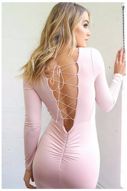 Melinda Lace Up Back Pink Bodycon Dress
