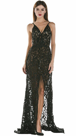 Areal Black Sequin Maxi Dress