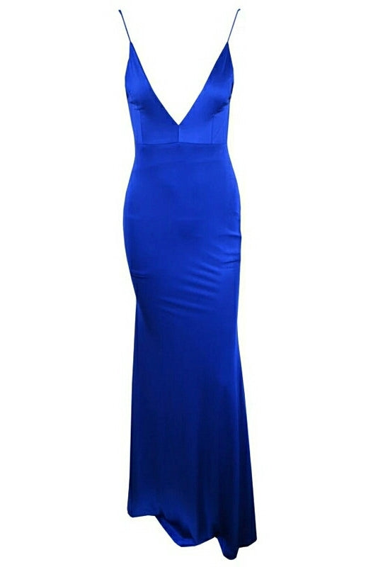 Dolly Royal Blue Plunge Maxi Dress