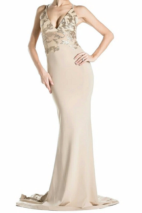 Liberty Gold Detailed Plunge Beige Gown
