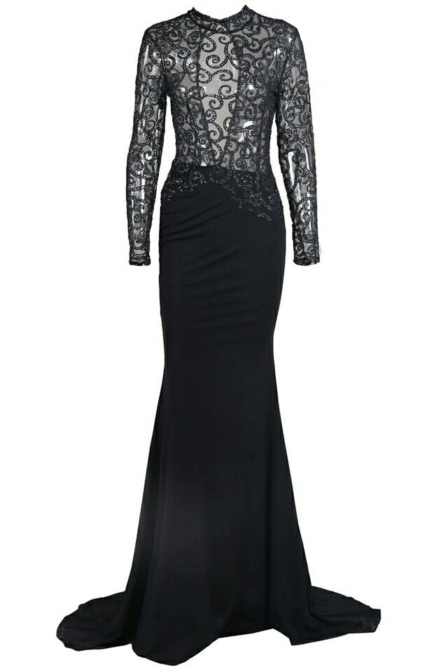Magda Black Lace Long Sleeve Gown