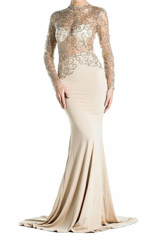 Magda Gold Lace Long Sleeve Beige Gown