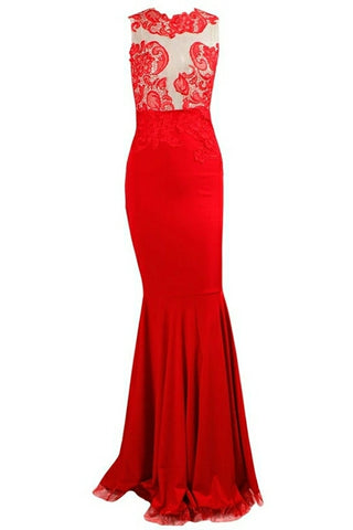 Kadence Red Floral Lace Sleeveless Gown