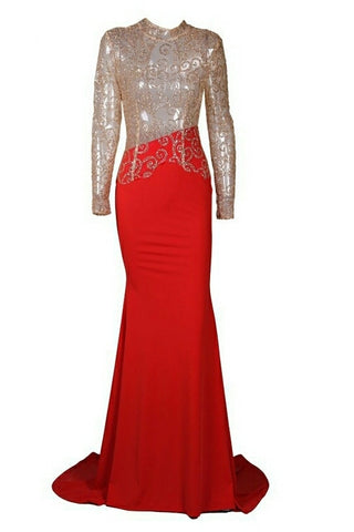 Magda Gold Lace Long Sleeve Red Gown