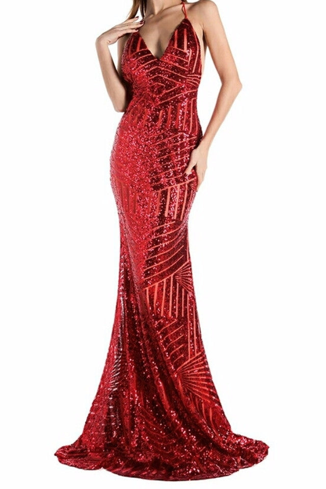 Ora Red Sequin Backless Gown