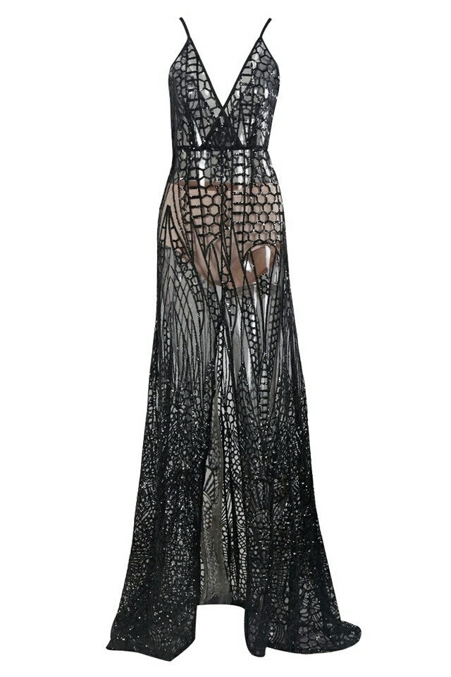 Cansas Black Sequin Plunge Gown