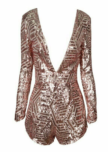 Stevie Deep Plunge Rose Gold Playsuit