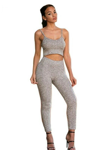 Lisa - Ann Grey Jersey Crop Tank Leggings Two - Piece