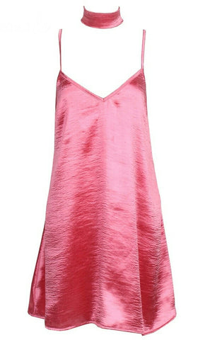 Shelly Pink Slip Dress + Scarf