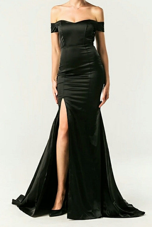 Sophia Black Off The Shoulder Maxi Gown