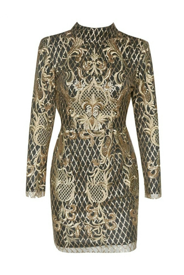 Clordette Gold Embroidered Detailed Mesh Long Sleeve Dress