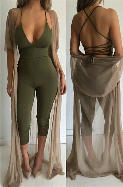 Spencer Khaki Lace Up Back Jumpsuit