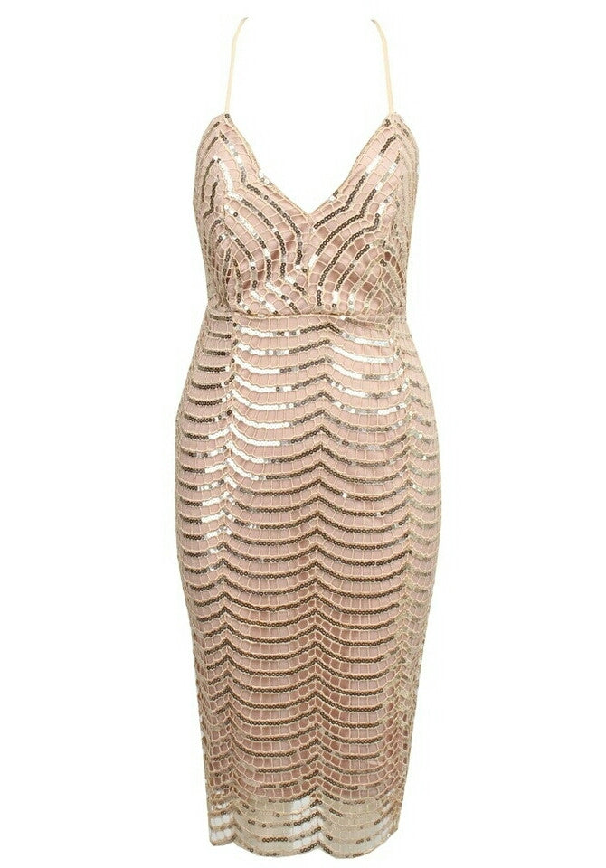 Skye Cream Beige Sequin Bodycon Dress