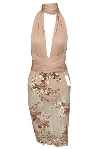 Melanie Beige Sequin Mesh Bottom Multiway Dress