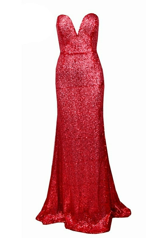 Shayla Red Sequin Sweetheart Gown