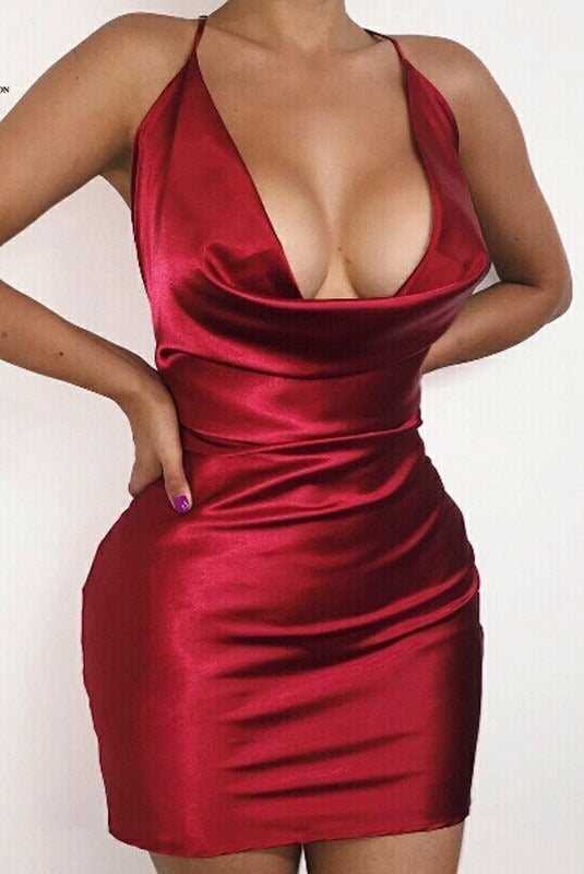 Sereny Red Cowl Neck Bodycon Dress