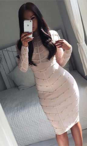 Fame Game Studded Long Sleeve Bandage Dress