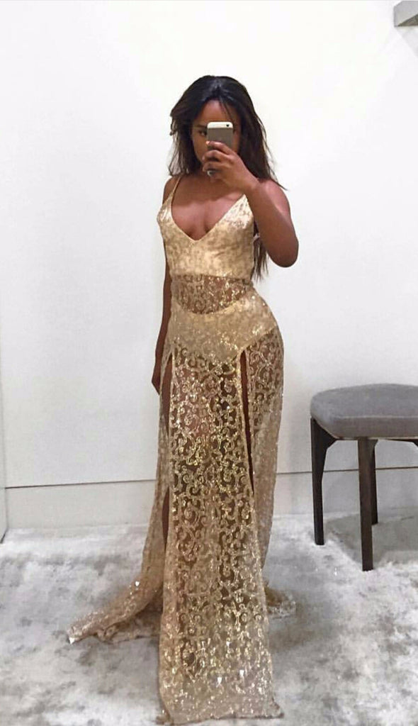 Olivia Gold Sequin Plunge Gown