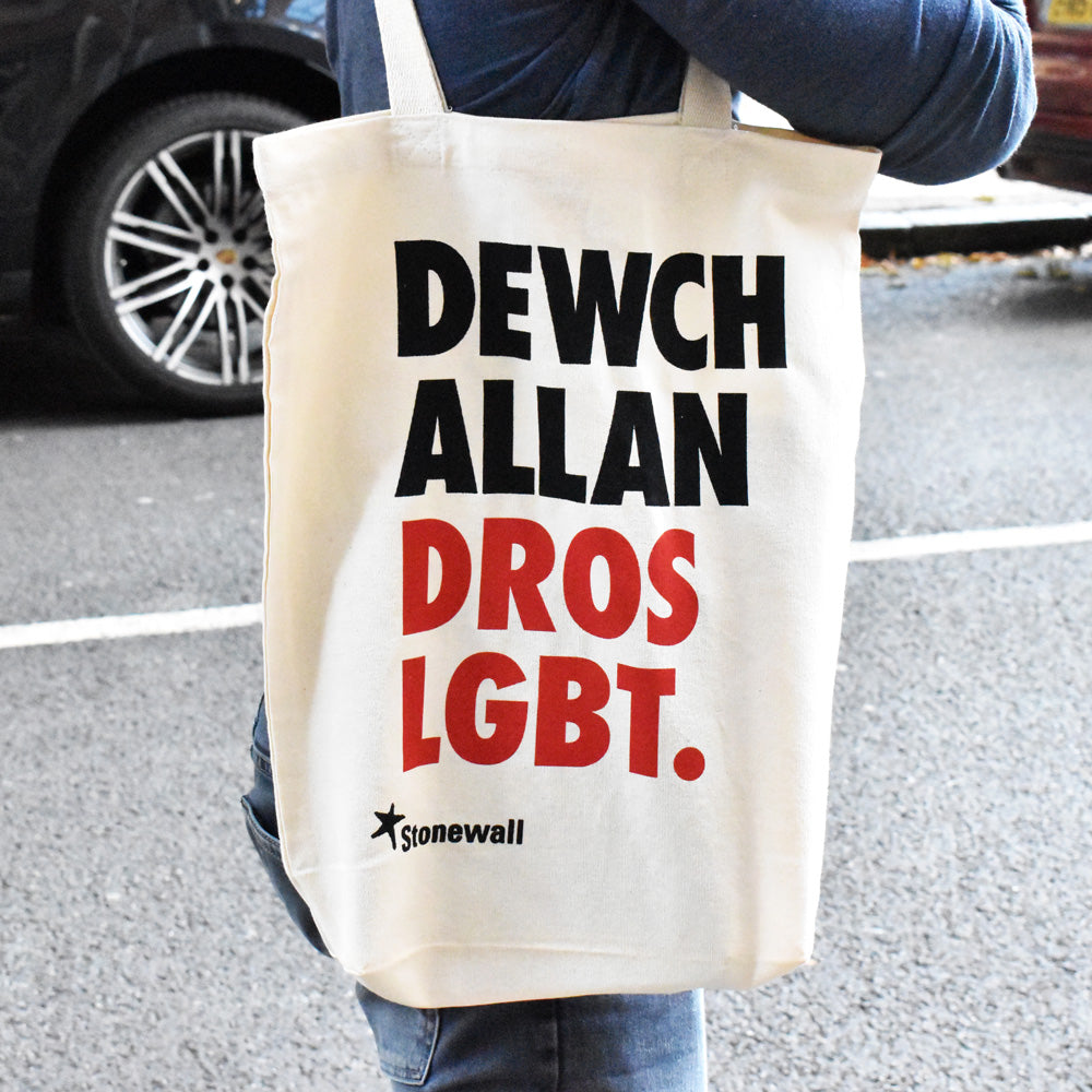Come Out for LGBT. tote bag - Welsh language