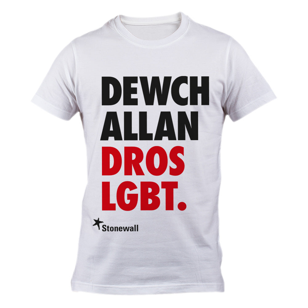 Come Out for LGBT. t-shirt - Welsh language