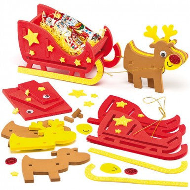 3D Reindeer and Sleigh Foam Craft Kit