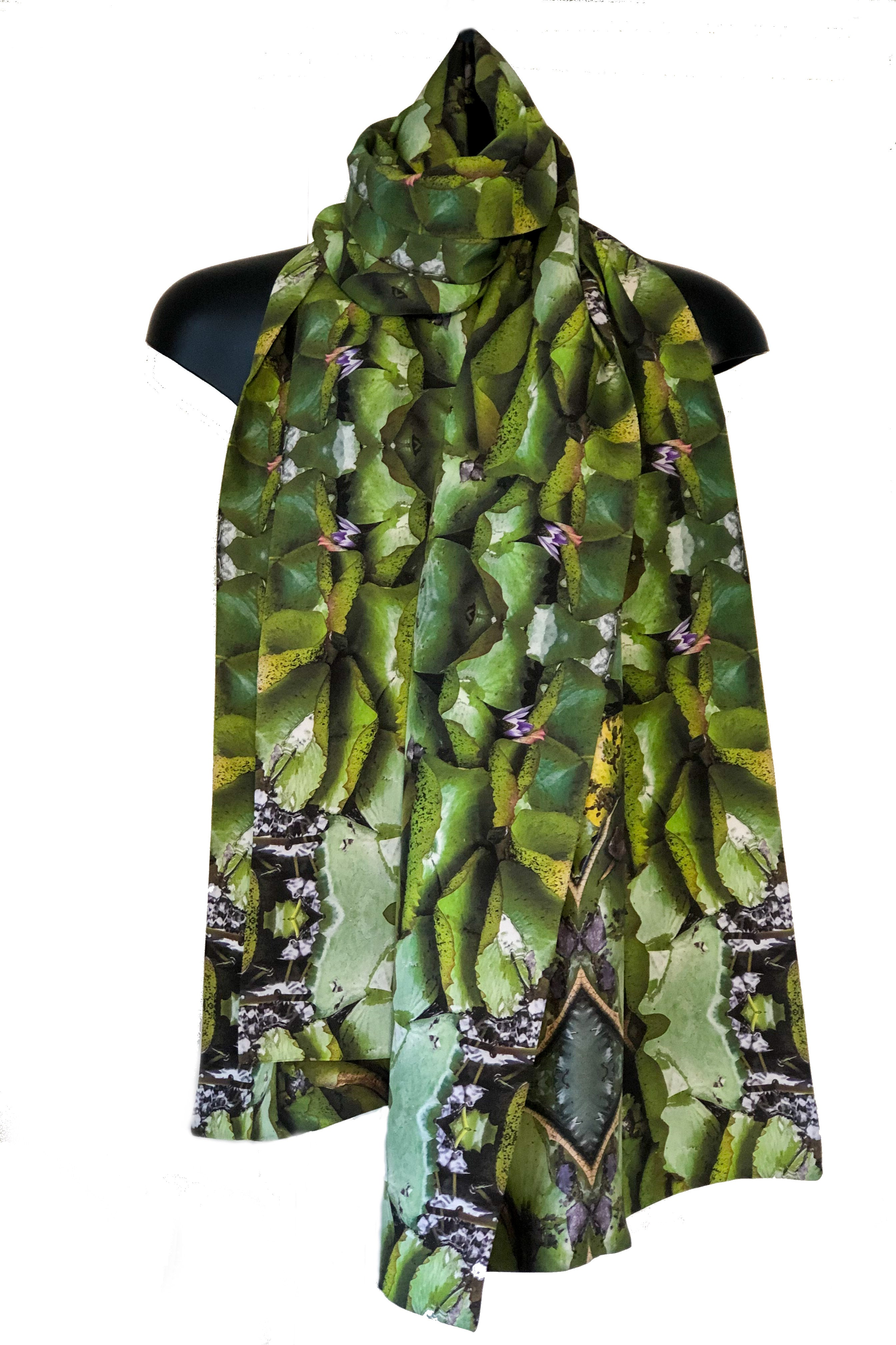 """Lily Pond"" Double Layer Silk Wrap"