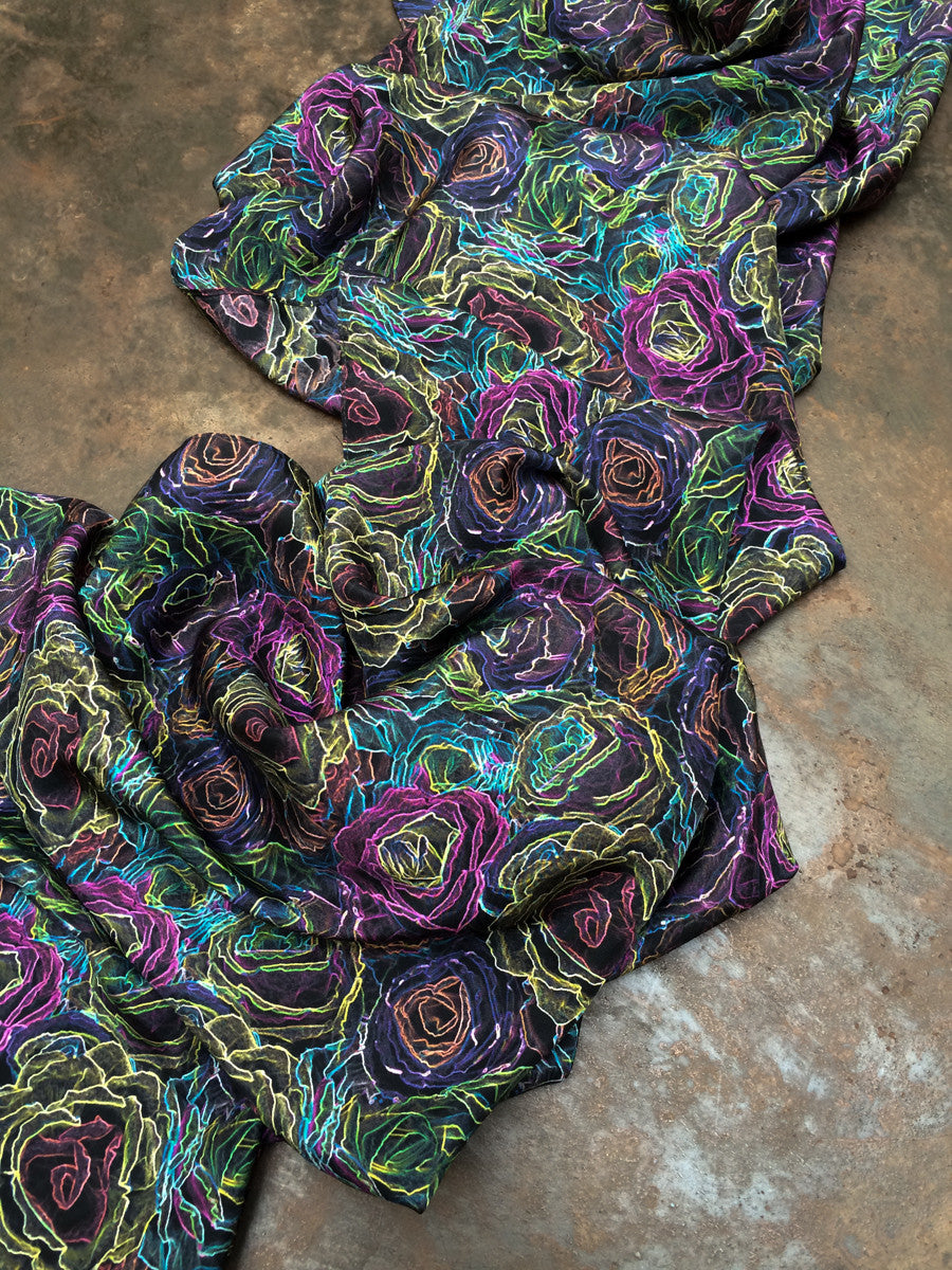 """Fiesta Flowers"" Single Layer Silk Wrap/Scarf"