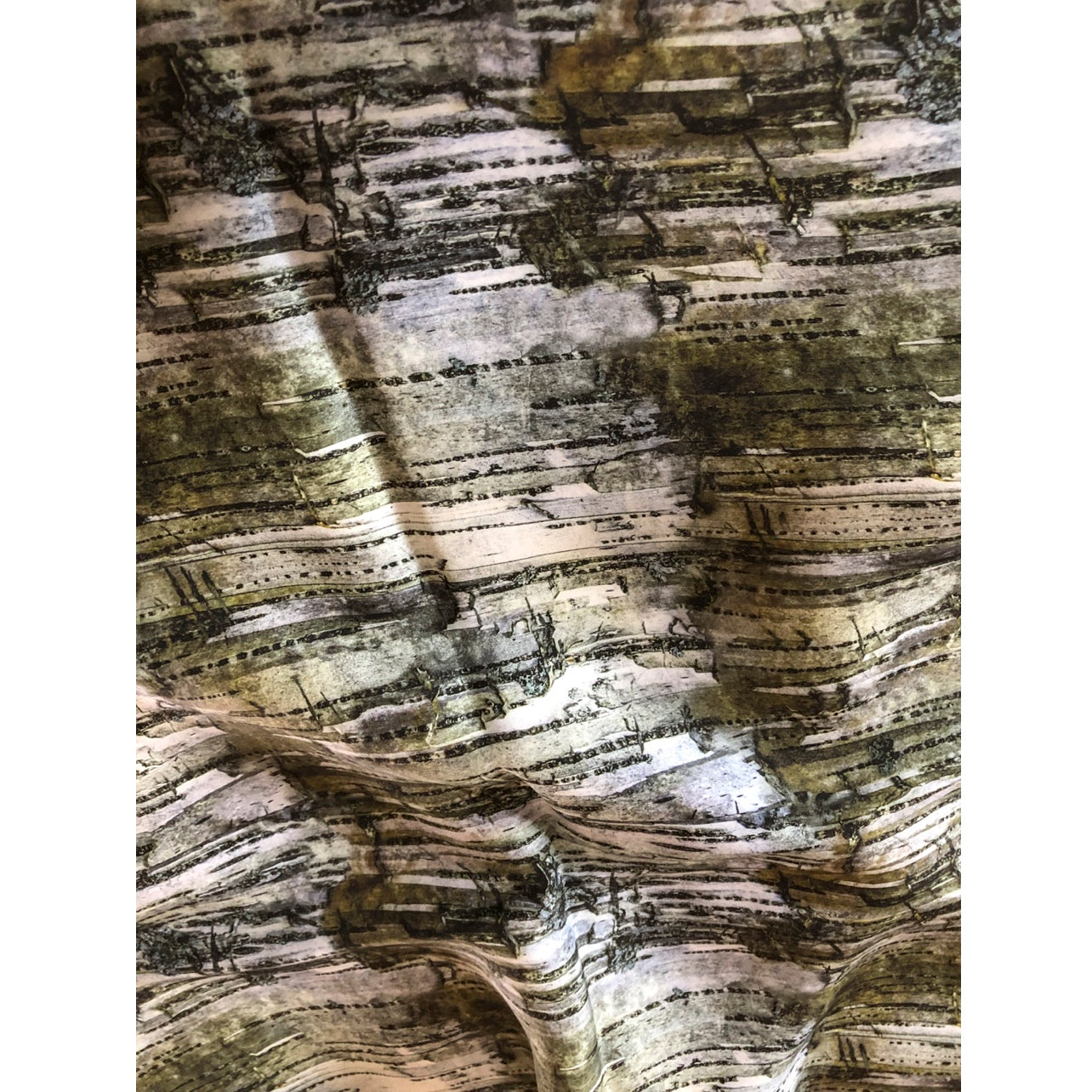 """Khaki Green Birch"" Double Layer Silk Wrap"