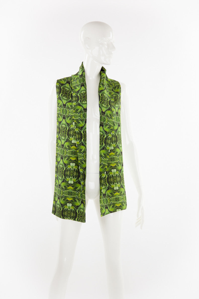 """Hojas Verde"" Double Layer Silk Scarf"