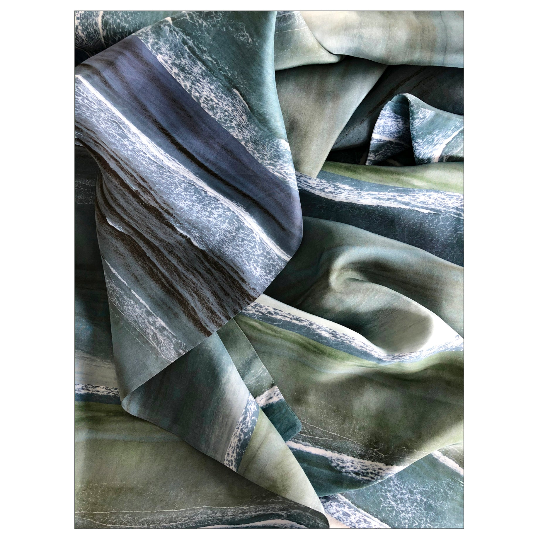 """Sand and Sea"" blue Double Layer Silk Wrap"