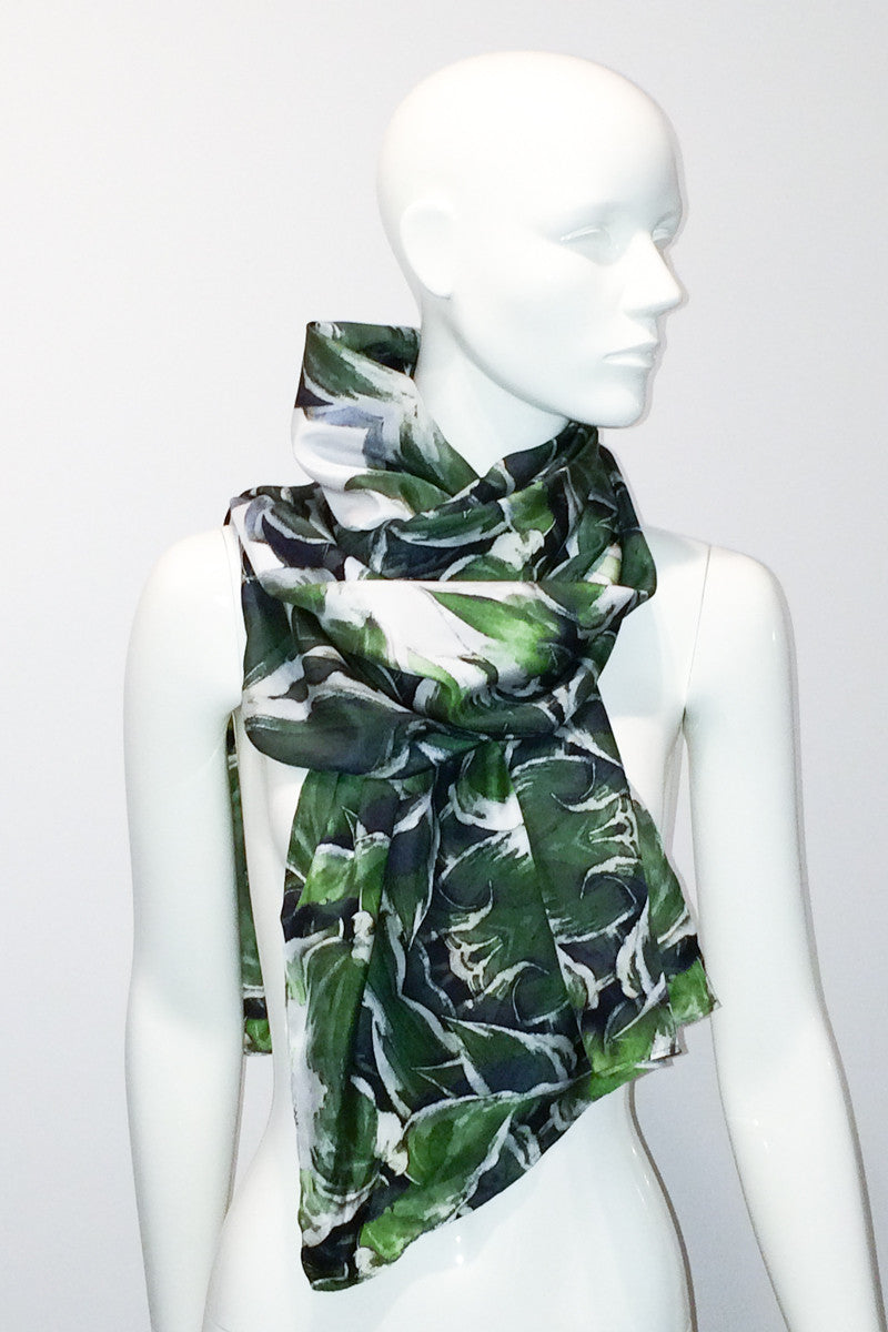 """June Leaves"" Single Layer Silk Wrap/Scarf"